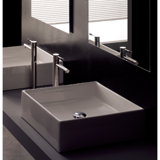 Bathroom Sink Square White Ceramic Vessel Sink 8031 Scarabeo 8031