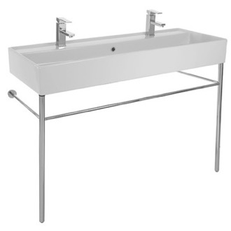 Large Double Ceramic Console Sink and Polished Chrome Stand Scarabeo 8031/R-120B-CON