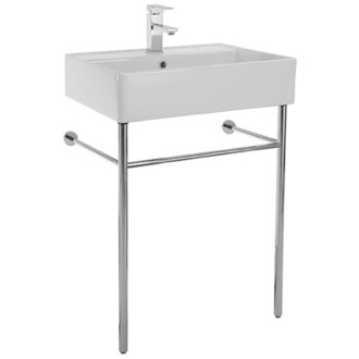 Console Sink Rectangular Ceramic Console Sink and Polished Chrome Stand 8031/R-60-CON Scarabeo 8031/R-60-CON
