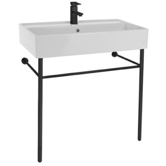 Ceramic Console Sink and Matte Black Stand Scarabeo 8031/R-80-CON-BLK