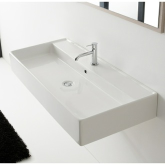 Bathroom Sink Rectangular White Ceramic Wall Mounted or Vessel Sink Scarabeo 8031/R-120A