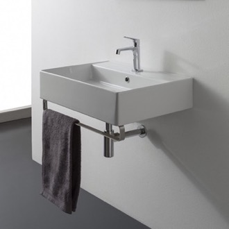 Bathroom Sink Square Wall Mounted Ceramic Sink With Polished Chrome Towel Bar Scarabeo 8031/R-TB