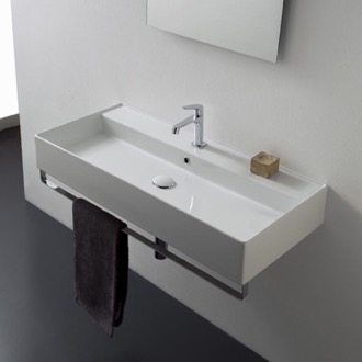 Bathroom Sink Rectangular Wall Mounted Ceramic Sink With Polished Chrome Towel Bar Scarabeo 8031/R-100A-TB