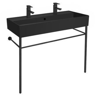 Double Matte Black Ceramic Console Sink and Matte Black Stand Scarabeo 8031/R-100B-49-CON-BLK