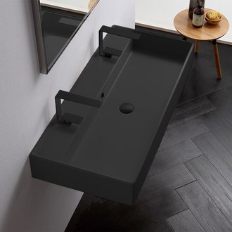 Matte Black Ceramic Trough Wall Mounted or Vessel Sink Scarabeo 8031/R-100B-49