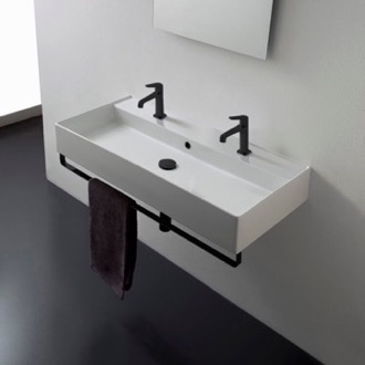 Wall Mounted Double Ceramic Sink With Matte Black Towel Bar Scarabeo 8031/R-100B-TB-BLK