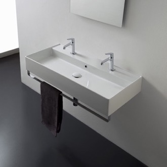 Bathroom Sink Wall Mounted Double Ceramic Sink With Polished Chrome Towel Bar Scarabeo 8031/R-100B-TB