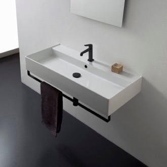 Rectangular Wall Mounted Ceramic Sink With Matte Black Towel Bar Scarabeo 8031/R-120A-TB-BLK