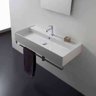 Bathroom Sink Rectangular Wall Mounted Ceramic Sink With Polished Chrome Towel Bar Scarabeo 8031/R-120A-TB