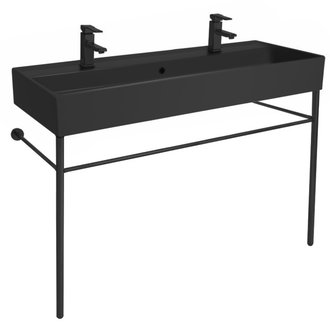 Double Matte Black Ceramic Console Sink and Matte Black Stand Scarabeo 8031/R-120B-49-CON-BLK