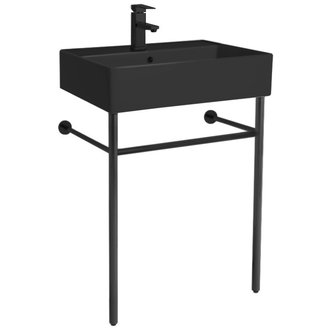 Matte Black Ceramic Console Sink and Matte Black Stand Scarabeo 8031/R-60-49-CON-BLK