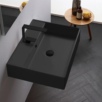 Rectangular Matte Black Ceramic Wall Mounted or Vessel Sink Scarabeo 8031/R-60-49