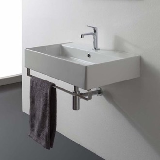 Bathroom Sink Rectangular Wall Mounted Ceramic Sink With Polished Chrome Towel Bar Scarabeo 8031/R-80-TB