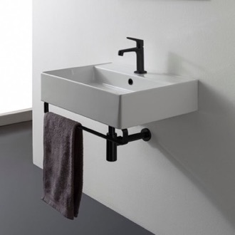 Square Wall Mounted Ceramic Sink With Matte Black Towel Bar Scarabeo 8031/R-TB-BLK