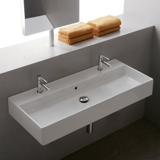 Bathroom Sink Trough Ceramic Wall Mounted Or Vessel Scarabeo 8031 R 100B