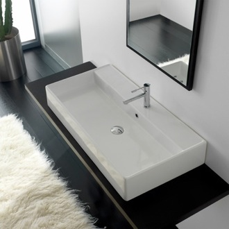 Bathroom Sink Rectangular White Ceramic Wall Mounted or Vessel Sink 8031/R-100A Scarabeo 8031/R-100A