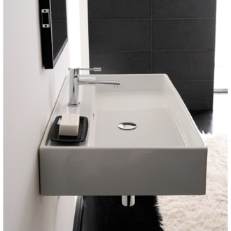 Bathroom Sink Rectangular White Ceramic Wall Mounted or Vessel Sink 8031/R-60 Scarabeo 8031/R-60