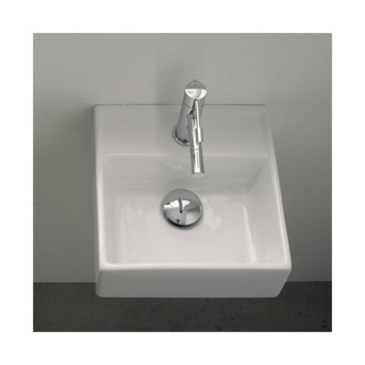 Small Square Ceramic Wall Mounted or Vessel Sink Scarabeo 8036