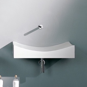 Rectangular White Ceramic Wall Mounted or Vessel Sink Scarabeo 8038