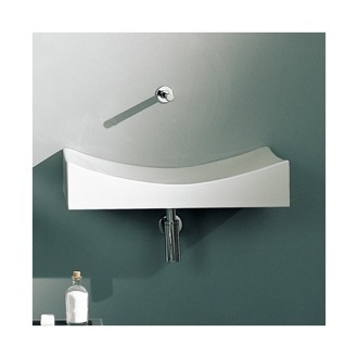 Rectangular White Ceramic Wall Mounted or Vessel Sink Scarabeo 8039