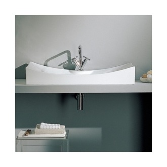 Rectangular White Ceramic Wall Mounted or Vessel Sink Scarabeo 8039/R