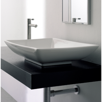 Rectangular White Ceramic Vessel Sink Scarabeo 8046
