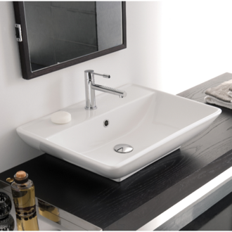 Bathroom Sink Rectangular White Ceramic Wall Mounted or Vessel Sink 8046/R Scarabeo 8046/R