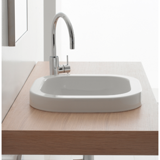 Bathroom Sink Square White Ceramic Built-In Sink Scarabeo 8047/A