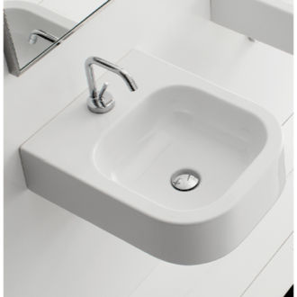 Bathroom Sink Square White Ceramic Wall Mounted or Vessel Sink 8047/B Scarabeo 8047/B