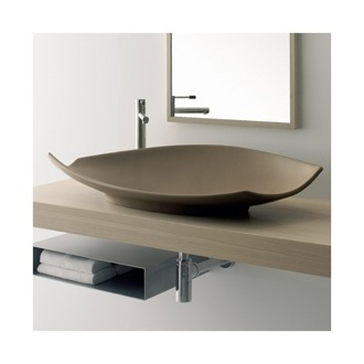 Bathroom Sink Oval-Shaped White Ceramic Vessel Sink 8053 Scarabeo 8053