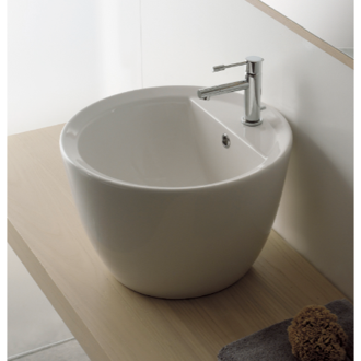 Round White Ceramic Vessel Sink Scarabeo 8055/R