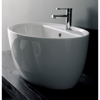 Oval-Shaped White Ceramic Vessel Sink Scarabeo 8056/R