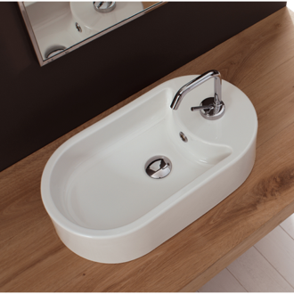 Oval-Shaped White Ceramic Vessel Sink Scarabeo 8093