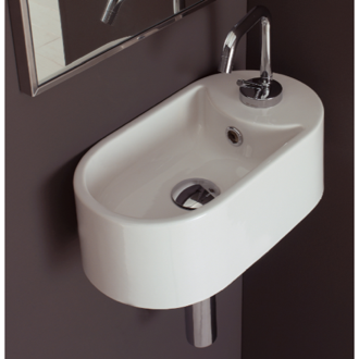 Oval-Shaped White Ceramic Wall Mounted Sink Scarabeo 8093/B