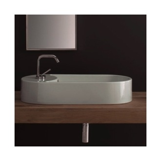 Oval-Shaped White Ceramic Vessel Sink Scarabeo 8094