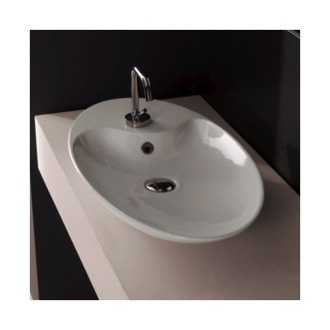 Oval-Shaped White Ceramic Vessel Sink Scarabeo 8097