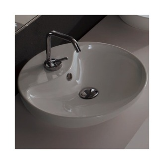 Round White Ceramic Vessel Sink Scarabeo 8098