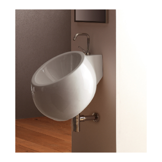 Bathroom Sink Round White Ceramic Wall Mounted Sink Scarabeo 8100