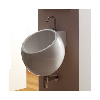 Bathroom Sink Round White Ceramic Wall Mounted Sink Scarabeo 8101