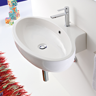 Bathroom Sink Oval Shaped White Ceramic Wall Mounted or Vessel Bathroom Sink 8109 Scarabeo 8109
