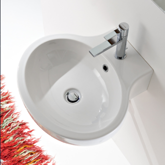 Oval White Ceramic Wall Mounted or Vessel Bathroom Sink Scarabeo 8110