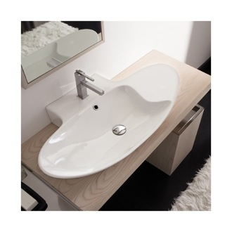 Bathroom Sink Oval-Shaped White Ceramic Wall Mounted or Vessel Sink 8200 Scarabeo 8200
