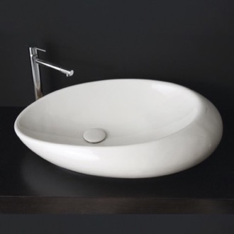 Oval Shaped White Ceramic Vessel Bathroom Sink Scarabeo 8601