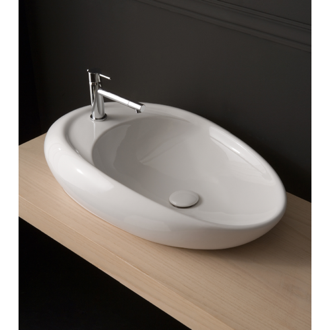Oval Shaped White Ceramic Vessel Bathroom Sink Scarabeo 8602