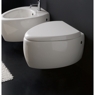 Toilet Round White Ceramic Wall Mounted Toilet Scarabeo 8604