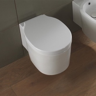 Round White Ceramic Wall Mounted Toilet Scarabeo 8812