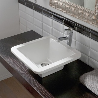 Square White Ceramic Vessel Sink Scarabeo 4001