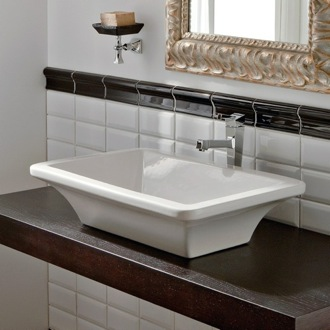 Rectangular White Ceramic Vessel Sink Scarabeo 4002