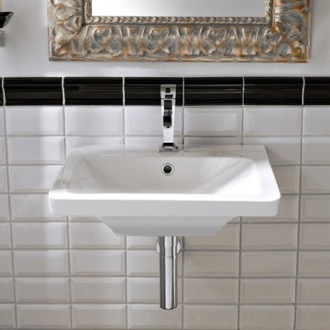 Rectangular White Ceramic Wall-Mounted or Vessel Sink Scarabeo 4003