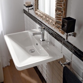 Rectangular White Ceramic Wall Mounted or Vessel Sink Scarabeo 4004